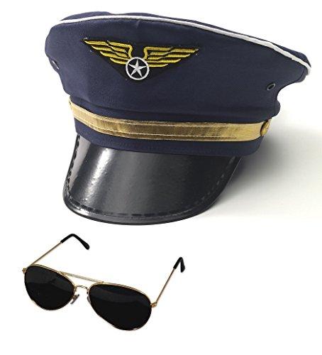 Nicky Bigs Novelties Airline Pilot Captain Hat and Aviator Glasses Set