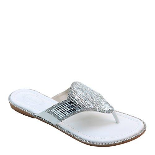 Nuovi Sandali Infradito T-strap In Twister Con Fibbia In Pelle Sintetica Brieten Bianco
