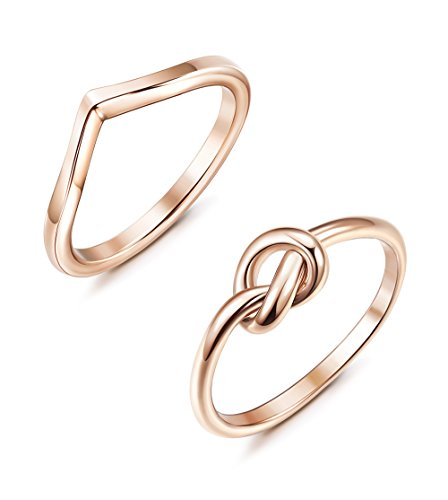 JOERICA 2 Pcs Stainless Steel Thumb Rings for Women Rose Gold Love Knot Ring Size 6 - Gold Heart Fashion Ring