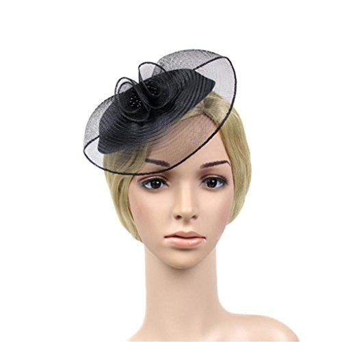 - Fascinators for Women,Feather Fascinators Womens Flower Derby Hat for Cocktail Ball Wedding Church Tea Party (7.9'', Black)