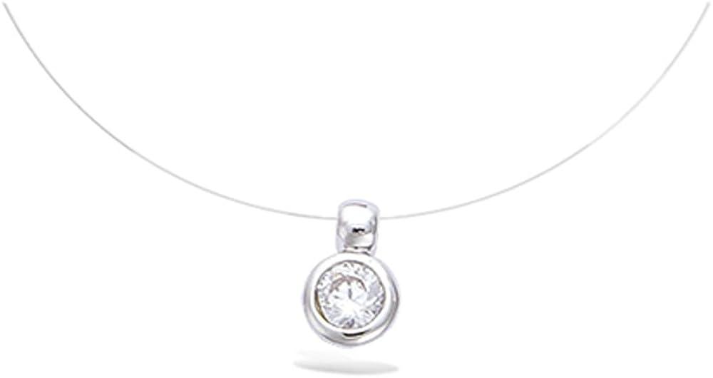 Collar para mujer, hilo de nailon, con colgante de plata 925/1000 rodiada y con circonio, brillante redondo 4 mm