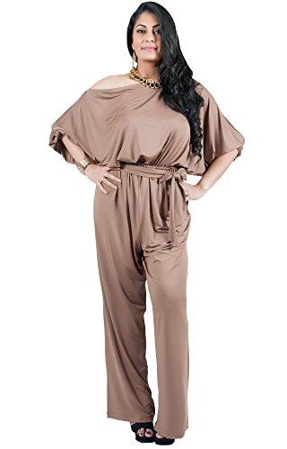 Adelyn and Vivian Plus Size Women's Long Sexy One Shoulder 3/4 Sleeve Summer Elegant Evening Cocktail Formal Casual Pant Suit Pantsuit Romper Rompers Jumpsuit Jumpsuits, Brown/Latte 2X 18-20