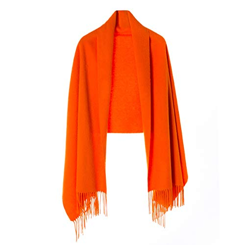 Cashmere Wrap Shawl for Women | Authentic 100% Pure Cashmere Extra Large (75inx25.6in) Scarf, Orange