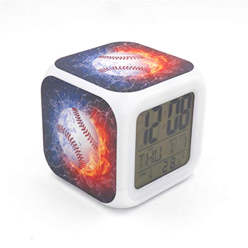 "BoWay 3""Desk & Shelf Clock Baseball Fire Digital Alarm Clock with Led Lights Blue Table Clock for Kids Teenagers Adults Home/Office Decor"