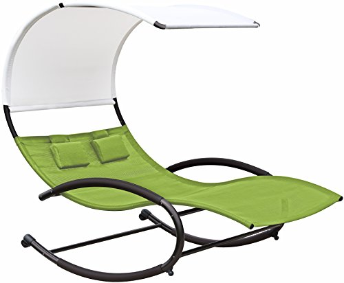 Vivere Double Chaise Rocker, Green Apple (Outdoor Double Rocker)