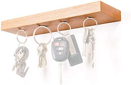 10 Wide Floating Shelf and Magnetic Key Rack – Made in USA – Solid Oak and 4 Strong Magnets