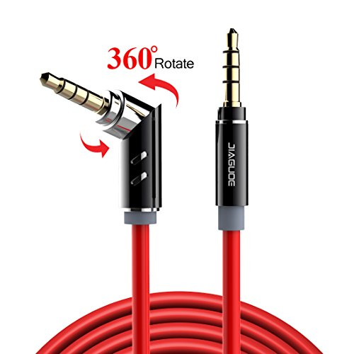 Aux Cord 3.5mm Audio Cable Male to Male Stereo 3.5 mm Aux Cable, Jiaguoe 360/90 Degree Rotate 5Ft / 1.5M Auxiliary Cord for Car / Home Speaker Headphones(Red)