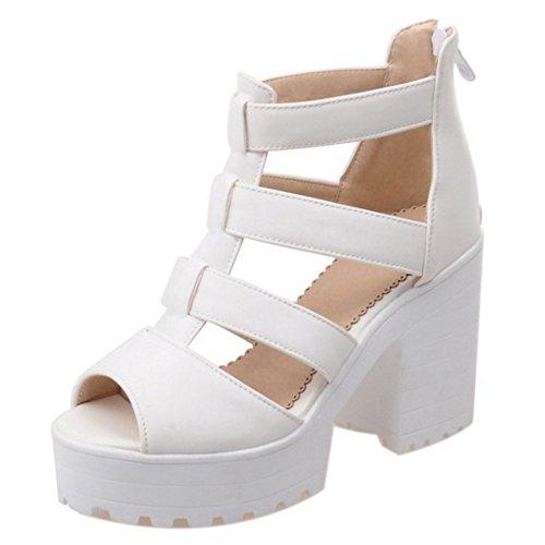 Correa Blanco Cremallera Plataforma Ancho en T COOLCEPT Moda con Tacon Sandalias Peep Toe Mujer Zapatos aA6gwHnxqE