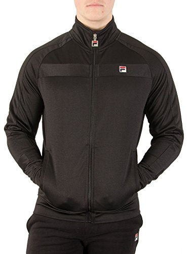 Mens Vintage Track Jacket - Fila Vintage Men's Renzo Panelled Track Jacket, Black, Small
