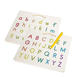 Hautton Magnetic Letters Board, 2 in 1 Alphabet Letter Tracing Board Educational Toy A to Z and a to z Read Learn Writing Drawing Tablet with Stylus Pen for Toddlers, Kids, Preschool