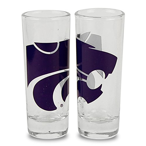 NCAA Color Team Logo 2oz Cordial Shot Glass 2-Pack (Kansas State Wildcats)