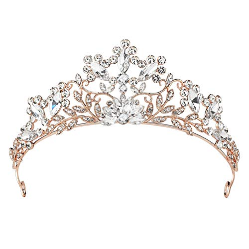 (SWEETV Rhinestone Wedding Tiara - Rose Gold Bridal Crown Jeweled Headpieces for Women and Girls)