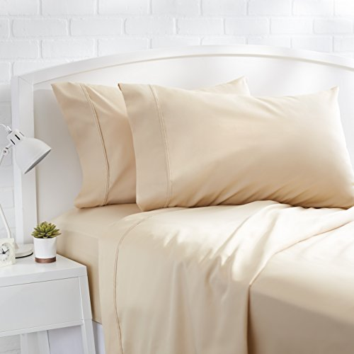 AmazonBasics 400 Thread Count Sheet Set - Cal King, Beige (King Cotton Fitted Sheet)