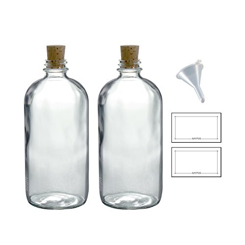 16 oz Clear Glass Boston Round Bottle with Cork Stopper Closure (2 Pack) + Funnel and ()