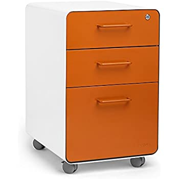 Amazon Com Poppin White Orange Stow Rolling 3 Drawer