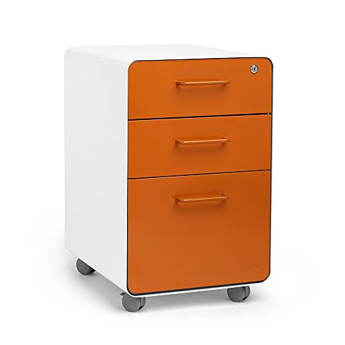 Poppin White + Orange Stow Rolling 3 Drawer File Cabinet, Available In 10  Colors, Legal/Letter