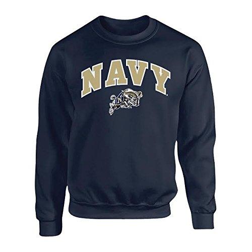 Elite Fan Shop Navy Midshipmen Crewneck Sweatshirt Arch Navy - -