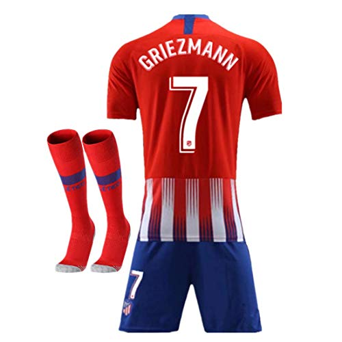2018-2019 Atletico Madrid #7 Griezmann Home Kids Youth Red Soccer Jersey & Shorts & Socks (8-9Years Old)