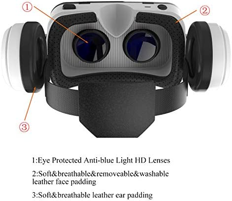 VR Headset with Bluetooth Headphones, Eye Protected HD Virtual Reality Headset,VR Glasses for iPhone and Android Phone Within 4.7-6.2Screen 41Cinm9BCTL