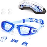 Swim Goggles, Swimming Goggles No Leaking Anti Fog UV Protection Shatterproof Triathlon Clear Lenes Swim Glasses, Fit for Adult Men Women Youth Kids Child Teenagers Unisex - with Nose Clip & Ear Plugs