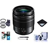 Panasonic Lumix G Vario 12-60mm F/3.5-5.6 Aspherical Power O.I.S. Lens for Micro 4/3 Mount Black - Bundle With 58mm Filter Kit, Lens Wrap, Cleaning Kit, Capleash II, Software Package