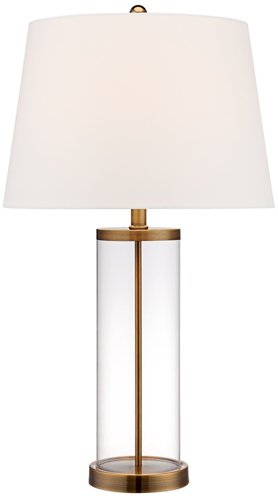Glass and steel cylinder fillable table lamp set of 2 amazon aloadofball Image collections
