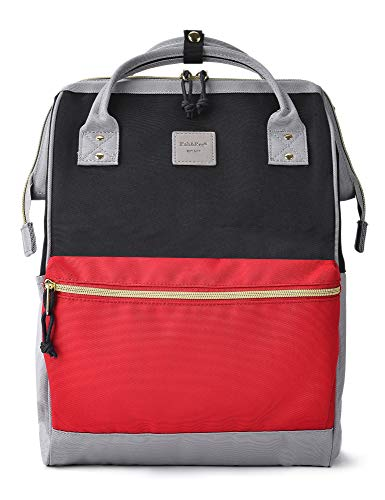 Kah&Kee Polyester Travel Backpack Functional Anti-theft School Laptop for Women Men (Black/Red/Grey, Large)