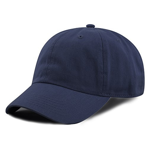 The Hat Depot Kids Washed Low Profile Cotton and Denim Baseball Cap (Navy) ()