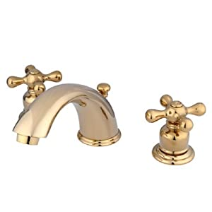 Kingston brass kb962ax victorian widespread lavatory faucet with metal cross handle polished for Victorian widespread bathroom faucet cross handles