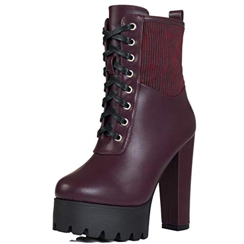 Bajas Plataforma Puffa Cuero Zapatos Botes Tacón Spylovebuy Bloque Sintético Mujer Borgoña UfwxT7nqY
