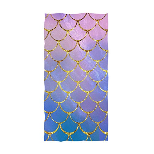 Naanle Chic Magic Colors Mermaid Fish Scales Print Soft Absorbent Large Hand Towels Multipurpose for Bathroom, Hotel, Gym and Spa (16