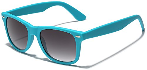 Colorful Retro Fashion Sunglasses - Smooth Matte Finish Frame - Turquoise ()