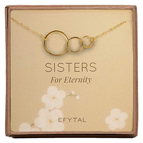 EFYTAL Sisters Eternity Necklace, Goldtone Three Interlocking Infinity Circles, Gift for 3 Sisters Best Friends