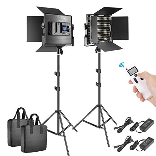 Neewer 2 Packs Advanced 2.4G 660 LED Video Light Photography Lighting Kit