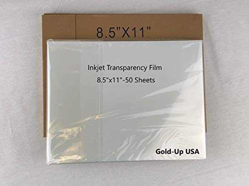8.5 x 11 Inch Waterproof Inkjet Transparency Film for Silk Screen Printing - 1 Pack (50 Sheets)