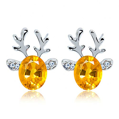 (Crystal Gemstone Earrings Luxury Three Dimensional Christmas Reindeer Elk for Women Girls Fashion Jewelry Ear Studs Party Favors Accessories Decorations Decors Earrings)