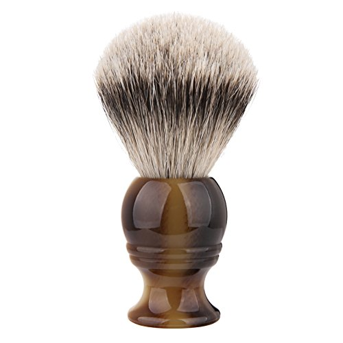 Silvertip Shaving Brush, QSH 100% top Quality Silvertip Badger Hair with Imported Ox Horn Color Resin Material Handle Luxury Facial Care Tools for Safety Razor, Double Edge Razor