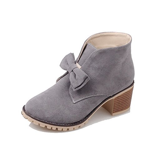 Frosted Kitten Boots Women's Heels Solid Closed Gray Ankle Toe Round high AmoonyFashion xYwqUIq