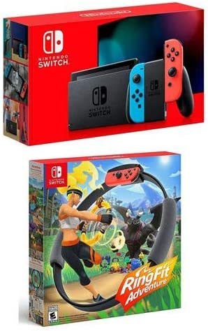 Nintendo 32GB Switch with Neon Blue & Neon Red Joy-Con Controllers Ring Fit Adventure Switch