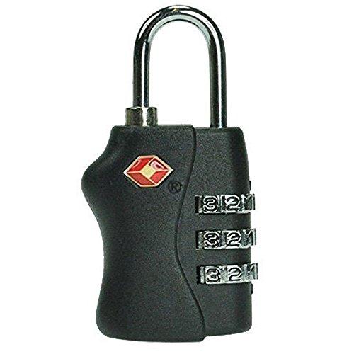 Jasit TSA Approved 3 Dial Digits Metal Combination Luggage Lock Coded Padlock (Black)