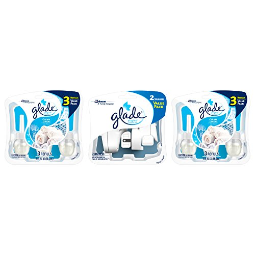 Glade PlugIns Scented Oil Air Freshener, Clean Linen, 6 Refills and 2 (Clean Linen)