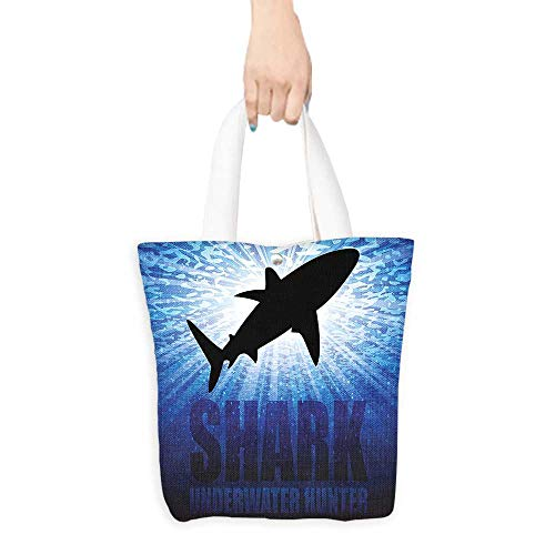 Pattern Shopping Bag Shark Underwater Hunter Phrase Fish Silhouette in the Ocean Danger in Marine Picture Royal Blue Black (W15.75 x L17.71 Inch)