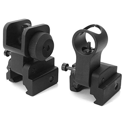 Green Blob Outdoors Iron Sights Ghost Ring Hooded Front and Rear Flip Up Back up Tactical Rifle Sight Set (Iron Blob Green Sights)