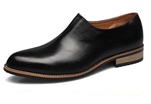 Hombres Verano Formal Superficial Cuero Zapatos Soltero Boda Negocio marrón Negro Punta puntiaguda Oxfords Primavera Plano tamaño 37-44 Black