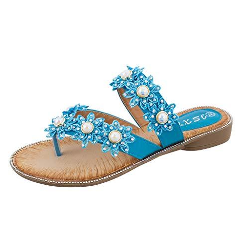 Claystyle Verano Mujer Damas Bohemia Flor Cristal Sandalias Planas Playa Peep Toe Zapatos Blue