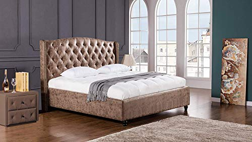Benjara BM194656 Leatherette Upholstered Wooden Eastern King Size Bed with Tufted Winged Headboard, Brown,