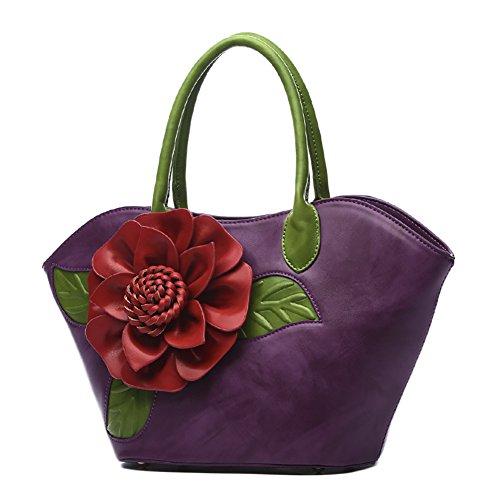 Chinese Style Top Handbags Flower Vintage Bags 1 Purple Messenger handle Handbag QZUnique Bags 5qOT1axdq