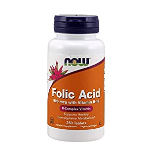 NOW Folic Acid 800 mcg with Vitamin B-12,250 Tablets