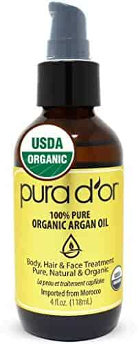 PURA D'OR Moroccan Argan Oil (4oz) Usda Certified Organic 100% Pure Cold Pressed Virgin Premium Grade Moisturizer Treatment for Dry Damaged Skin, Face, Scalp, hair, Body & Nails (Packaging May Vary)