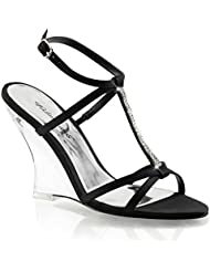 Summitfashions Womens Strappy Black Wedge Sandals Shoes with Rhinestones and 4 Clear Heels